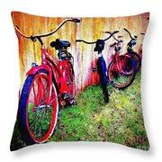 Austin Texas Bikes  -- Original Painting Throw Pillow