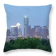 Austin Texas Building Skyline After The The Lights Are On Throw Pillow