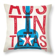 Austin Poster - Texas - Live Music Throw Pillow