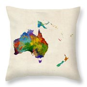 Australia Continent Watercolor Map Throw Pillow