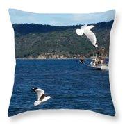 Australia - Seagulls And Trawlers Throw Pillow