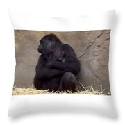 Australia - Baby Gorilla In Mums Arms Throw Pillow