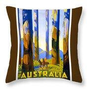 Australia - The Tallest Trees In The British Empire - Marysville, Victoria - Retro Travel Poster Throw Pillow