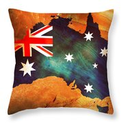 Australian Flag On Rock Throw Pillow