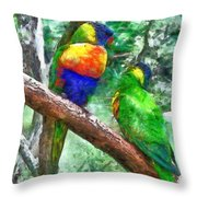 Australian Parakeets Throw Pillow