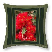 Australian Red Eucalyptus Flowers With Design Throw Pillow