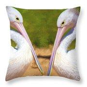 Australian White Pelicans Throw Pillow