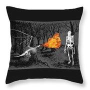 Australopithecus And The Dragon Throw Pillow