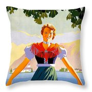 Austria, Young Woman In Traditional Dress Invites You, Danube River Throw Pillow