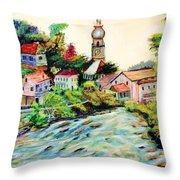 Austrian Alpine Village   Throw Pillow