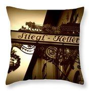 Austrian Beer Cellar Sign Throw Pillow
