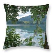Austrian Lake Through The Trees Throw Pillow