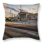 Austrian Parliament In Vienna Throw Pillow