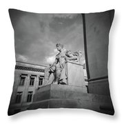 Authority Statue At The Courthouse In Memphis Tennessee Throw Pillow