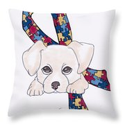 Autism Awareness And Puppy Love Throw Pillow