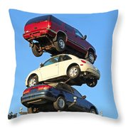 Auto Pile Up Throw Pillow