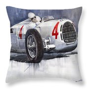 Auto Union C Type 1937 Monaco Gp Hans Stuck Throw Pillow