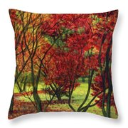 Autum Red Woodlands Painting Throw Pillow