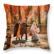 Autumn - People - A Walk In The Countryside Throw Pillow