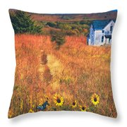 Autumn Abandoned House In The Prairie Throw Pillow
