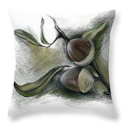 Autumn Acorns On An Oak Twig Throw Pillow