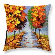 Autumn Alley Throw Pillow