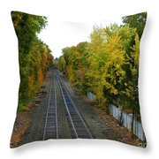 Autumn Along The Tracks Throw Pillow