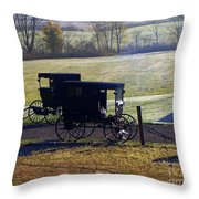 Autumn Amish Horse Buggy Throw Pillow