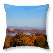 Autumn And The Hudson River Throw Pillow