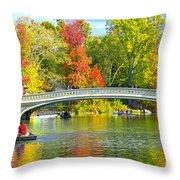 Autumn At Bow Bridge Central Park Throw Pillow