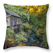 Autumn At Cedar Creek Grist Mill Throw Pillow