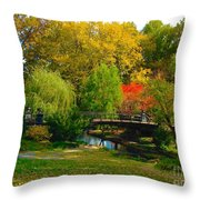 Autumn At Lafayette Park Bridge Landscape Throw Pillow