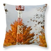 Autumn At The Airport Light Tower Throw Pillow