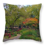 Autumn At The Bridge In Lafayette Park Throw Pillow