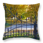 Autumn At The Gates Of Lafayette Park Portrait Throw Pillow