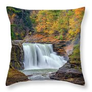 Autumn At The Lower Falls Throw Pillow by Rick Berk