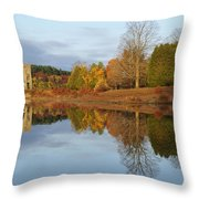 Autumn At The Old Stone Church Throw Pillow
