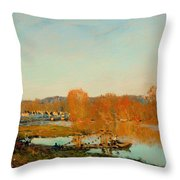 Autumn Banks Of The Seine Near Bougival Throw Pillow