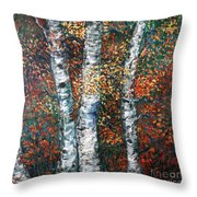 Autumn Birch Throw Pillow