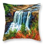 Autumn Blackwater Falls - Paint 3 Throw Pillow