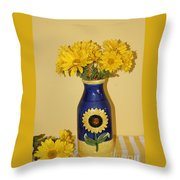 Autumn Blossoms And Blue Vase Throw Pillow