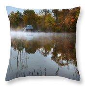 Autumn Boathouse Throw Pillow