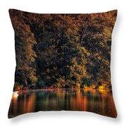 Autumn Boating At Argyle Lake Throw Pillow