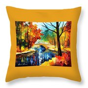 Autumn Calm 2 - Palette Knife Oil Painting On Canvas By Leonid Afremov Throw Pillow