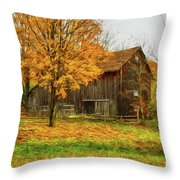 Autumn Catskill Barn Throw Pillow