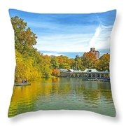 Autumn Central Park Lake And Boathouse Throw Pillow