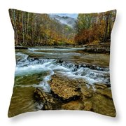 Autumn Cherry Falls Elk River Throw Pillow