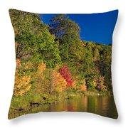 Autumn Color Trees Along Beauty Lake Throw Pillow