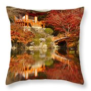Autumn Colours At Daigo-ji Temple In Kyoto In Japan Throw Pillow