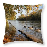 Autumn Colours At Sunbury On Thames Surrey Uk Throw Pillow